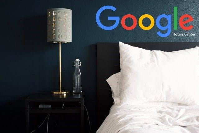 camera di hotel con logo google hotels center